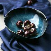 Blooming Pinellia European Style Retro Gradient Blue Ceramic Bowl Creative Ramen Soup Bowl Irregular Fruit Salad Bowl Large Capacity Dessert Plate