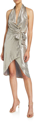 Ramy Brook Maura Metallic Halter Wrap Dress