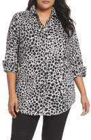 Foxcroft Plus Size Women's Fay Animal Print Cotton Tunic Shirt