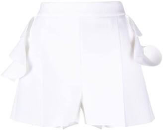 MSGM Ruffle-Trim High-Rise Shorts