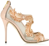 Oscar de la Renta Ambria Bisque Mesh and Patent Leather High Heel Sandal