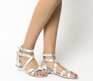 Office Manhattan Strappy Block Heels Silver