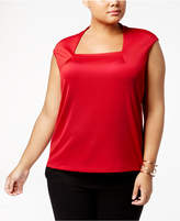 Kasper Plus Size Square-Neck Top
