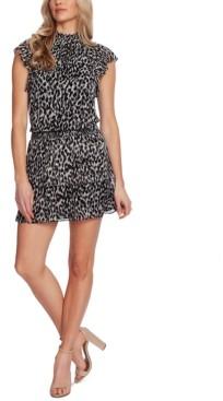 1 STATE Leopard-Print Smocked-Trim Mini Dress