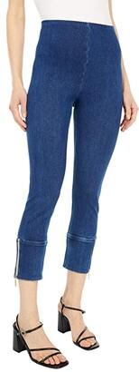 Lysse Kira Crop Knit Denim Leggings (Mid Wash) Women's Jeans