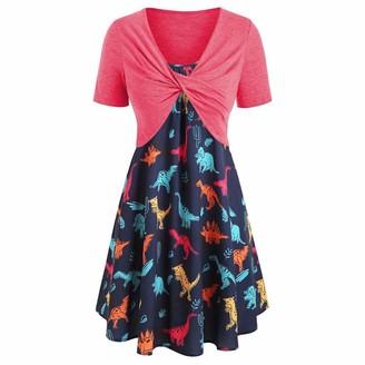 VECDY Dresss for Women Short Sleeve Dress with Front Criss Cross Top Lovely Dinosaur Print Beach Mini Dress Suits UK 8~16 Size(16