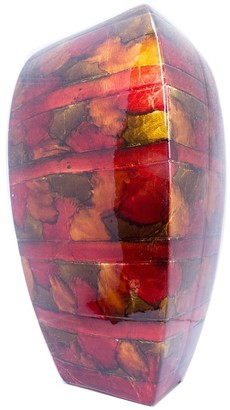 HomeRoots Quay Copper Red Gold Ceramic Foil and Lacquer Tapered Modern Vase