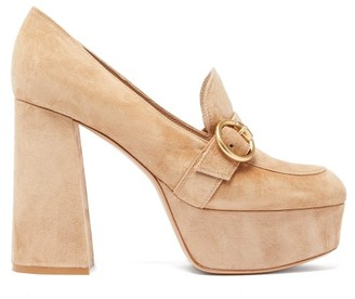 Gianvito Rossi Loafer-style Suede Platform Pumps - Beige