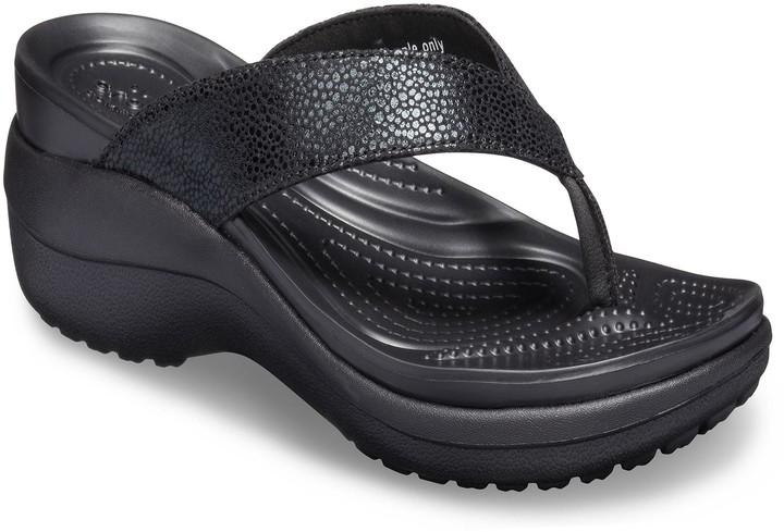 Women's Wedge Capri Flip Flop Metallic Sandals Texture Nnv0Om8w