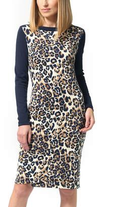 LADA LUCCI Women's Casual Dresses Navy - Navy Leopard Long-Sleeve Sheath Dress - Women & Plus
