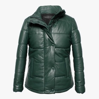 Oakwood Dolly Green Leather Padded Bomber Jacket