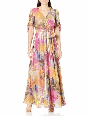 Tahari ASL Women's Tie Sleeve Floral Print Surplus Gown