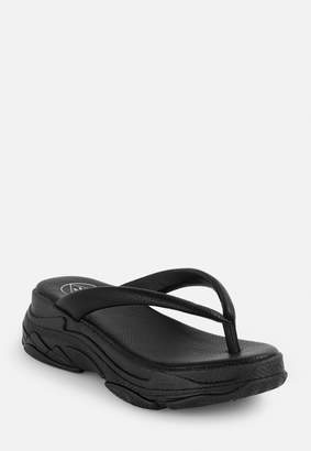 Missguided Black Chunky Sports Sole Thong Sandals
