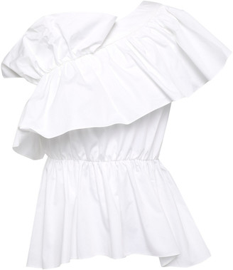 GOEN.J Tiered Ruffled Cotton-poplin Peplum Blouse