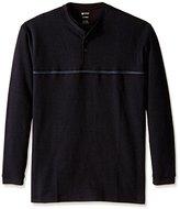 Haggar Men's Big and Tall Long Sleeve 2 in 1 Flat Back Rib Knit Shirt