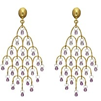 Gurhan 24K/22K/18K Yellow Gold & Platinum Pink Sapphire Chandelier Earrings