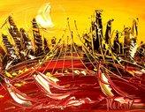 Mark Kazav Fine Art Abstract Original Oil Painting Heavy Texture Impasto Palette Knife Wall Décor