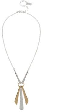 "Robert Lee Morris Soho Two-Tone Geometric Stick Pendant Necklace, 18"" + 3"" extender"