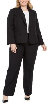 Le Suit Plus Size Pinstripe One-Button Pantsuit