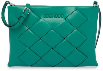 Miu Miu Woven Leather Clutch Bag