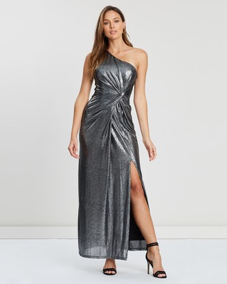 Montique - Women's Grey Maxi dresses - Lopez One Shoulder Metallic Gown - Size One Size, 16 at The Iconic