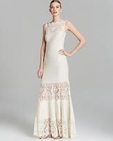Tadashi Shoji Petites Gown - Sleeveless Illusion Lace Pintuck