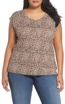 MICHAEL Michael Kors Plus Size Women's Leopard Print Elliptical Top