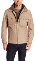 London Fog Men's Beaverton Microfiber Newsboy Jacket with Contrast Bib