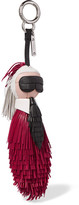 Fendi Karlito Fringed Leather Bag Charm - Red