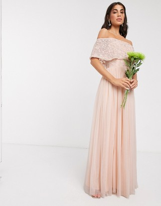 Beauut embellished bardot maxi dress in soft apricot
