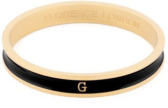 Florence London Initial G Bangle 18Ct Gold Plated With Black Enamel
