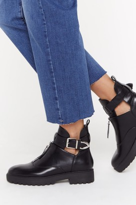 Nasty Gal Womens Kick 'Em Into Touch Faux Leather Biker Boot - Black - 3, Black