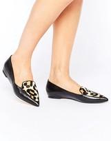 Dune Austin Leopard Vamp Flat Shoe