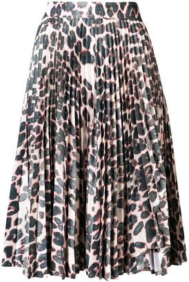 Calvin Klein Leopard Print Pleated Skirt