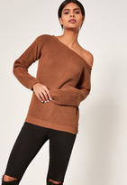 Missguided Tan Off Shoulder Knit Sweater