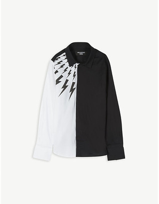 Neil Barrett Lightning bolt two-tone cotton shirt 8-14 years