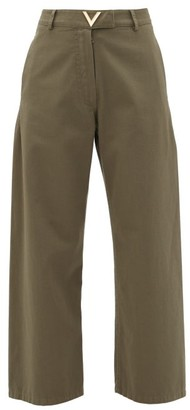 Valentino High-rise Cotton-twill Trousers - Womens - Dark Green