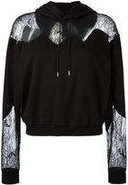 McQ by Alexander McQueen lace panels hoody - women - Cotton/Polyamide/Polyester/Viscose - XS