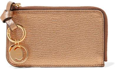 Chloé Alphabet Metallic Textured-leather Wallet - Bronze