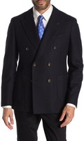 Thomas Pink Heathcliff Navy Solid Double Breasted Peak Lapel Wool Blazer