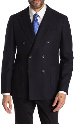 Thomas Pink Heathcliff Navy Solid Double Breasted Peak Lapel Wool Blazer