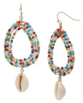 Jessica Simpson Puka Shell Beaded Gold-Tone Drop Earrings