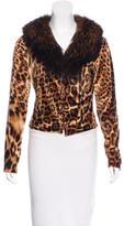 Roberto Cavalli Fox Fur-Trimmed Leopard Print Cardigan