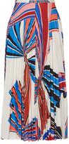 Emilio Pucci Vortex Pleated Printed Stretch-jersey Skirt - White