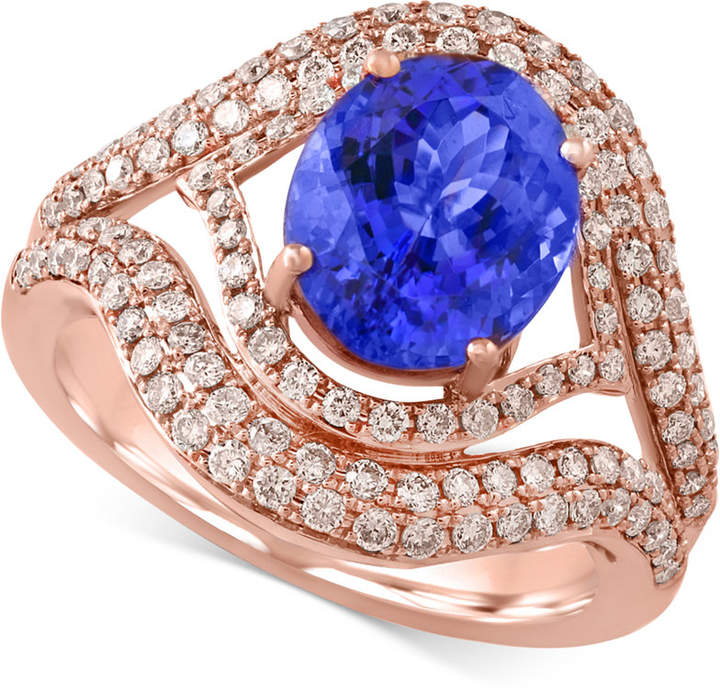 Effy Tanzanite Royale by Tanzanite (2-5/8 ct. t.w.) and Diamond (9/10 ct. t.w.) Ring in 14k Rose Gold, Created for Macy's