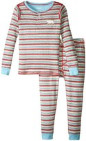 Hatley Icy Stripes Henley Pajama (Toddler/Kid) - Blue - 3