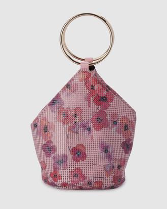 Olga Berg Alexa Floral Mesh Handle Bag
