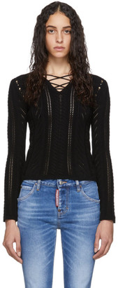 DSQUARED2 Black Lace-Up V-Neck Sweater