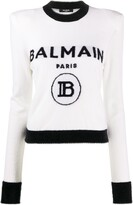 Thumbnail for your product : Balmain Logo-Jacquard Shoulder-Pad Jumper