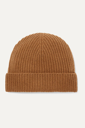 Johnstons of Elgin Ribbed Cashmere Beanie - Brown